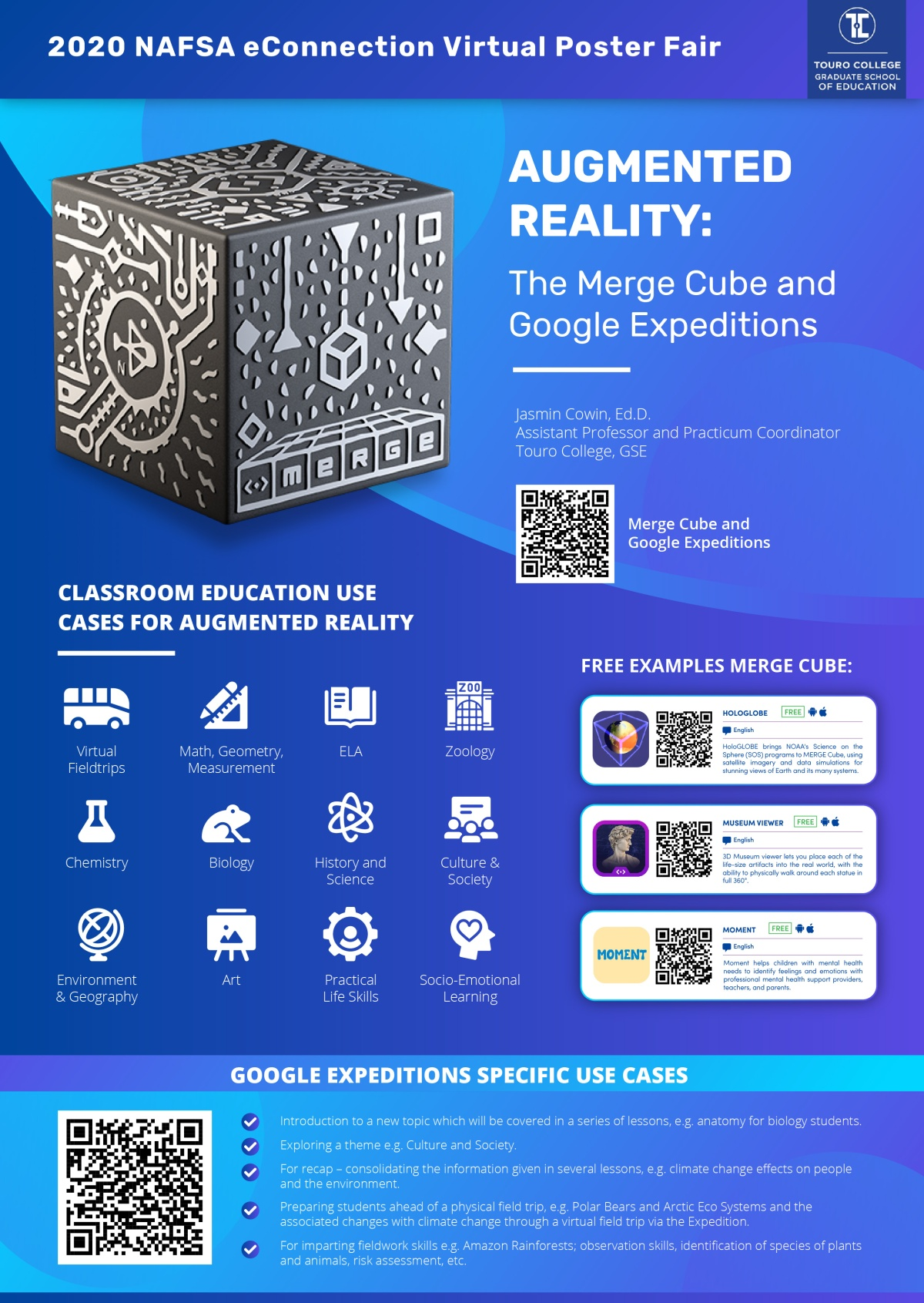Dr. Cowin's Merge Cube and Google Expedition Poster for the Virtual Poster Fair at the 2020 NAFSAConference