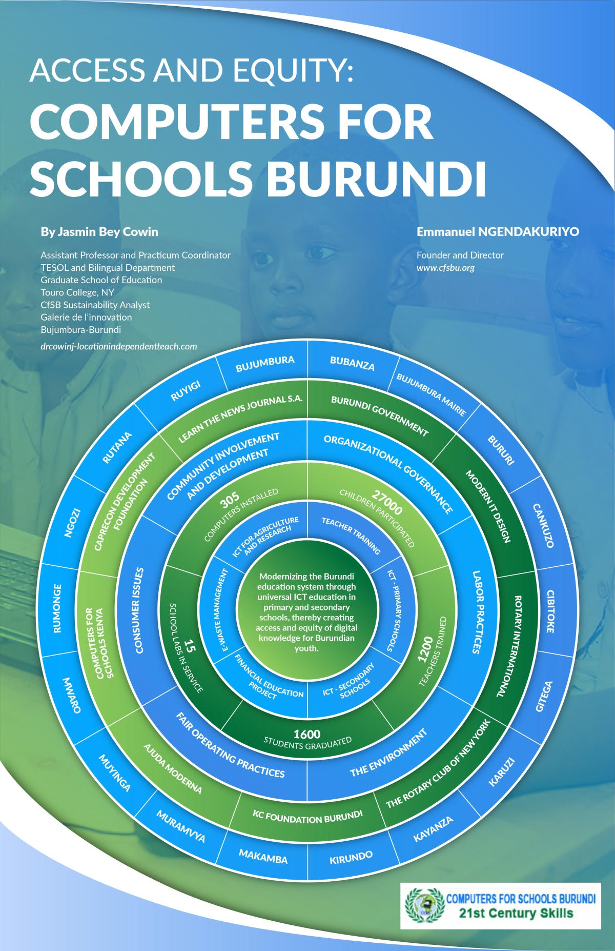 Journal of Higher Education Theory and Practice Publication: Access and Equity: Computers for Schools Burundi by Dr. Jasmin Bey Cowin
