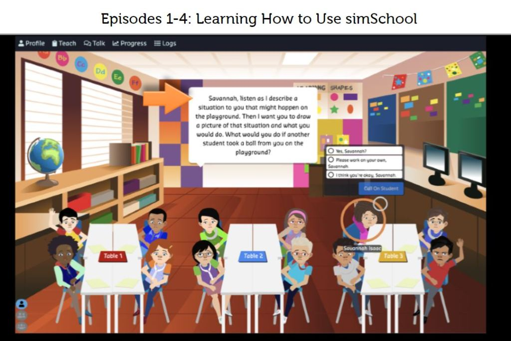 simSchool screenshot of virtual classroom