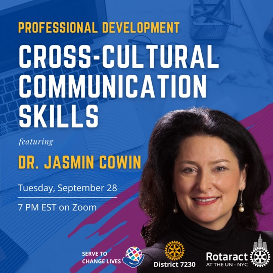 """Dr. Jasmin Cowin invited to speak to Rotaract UN on """"Have you ever encounteredcultural misunderstandings in your workplace communication?"""""""