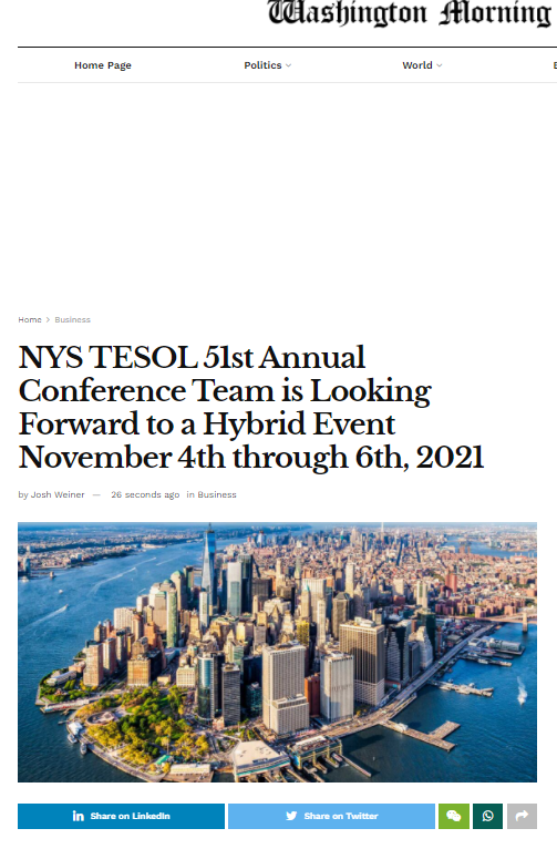 The 51st NYS TESOL Conference Washington MorningFeature