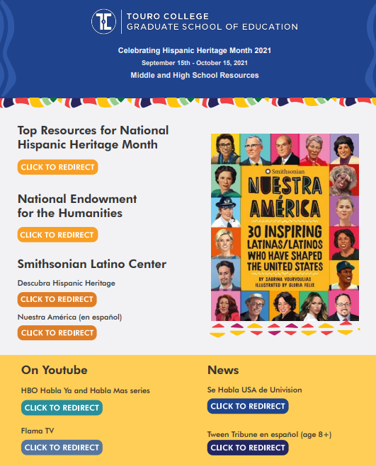 Touro GSE TESOL Resource Infographic celebrating Hispanic Heritage Month 2022, designed by Dr. Jasmin (Bey)Cowin